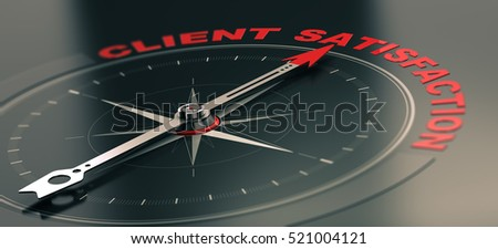 3D illustration of a conceptual compass with needle pointing the text client satisfaction, Business or Marketing concept. Horizontal image, red and black tones.