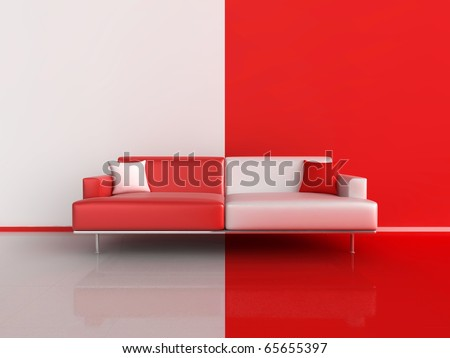 3d illustration of a contrasting sofa in red and white - stock photo