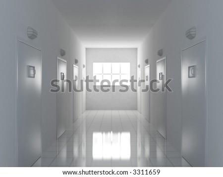 3d illustration of a corridor - stock photo