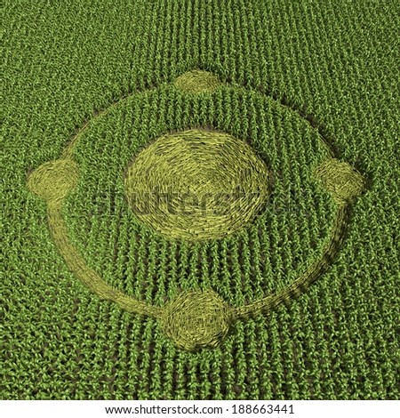 3d Illustration of a Crop Circle - stock photo