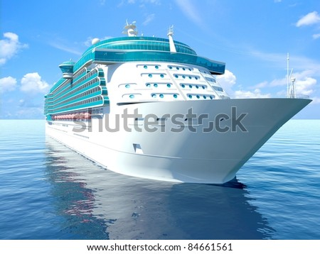 3D illustration of a Cruise Ship - stock photo