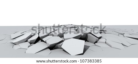 3d illustration of a crumbling concrete floor - stock photo