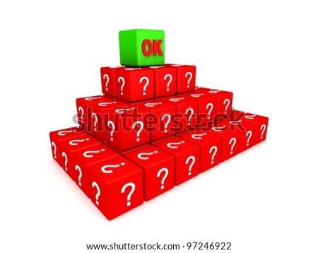 3d illustration of a  cubes or dice, with a question mark symbol on each side. - stock photo