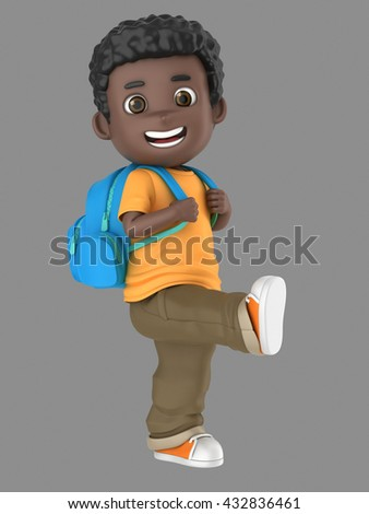 3d illustration of a cute african american boy ready for school carrying a back pack