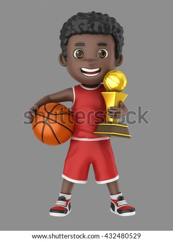 3d illustration of a cute african american kid holding a basketball and a trophy in uniform - stock photo