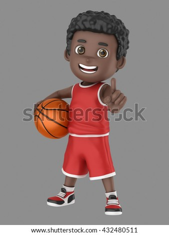 3d illustration of a cute african american kid holding a basketball and showing number one sign in uniform - stock photo