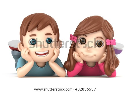 3d illustration of a cute boy and girl laying on the floor smiling