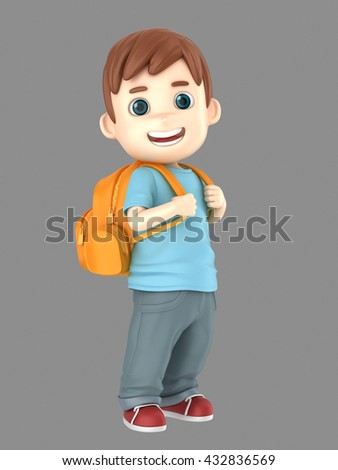 3d illustration of a cute boy ready for school carrying a back pack