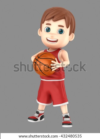 3d illustration of a cute kid holding a basketball in uniform - stock photo