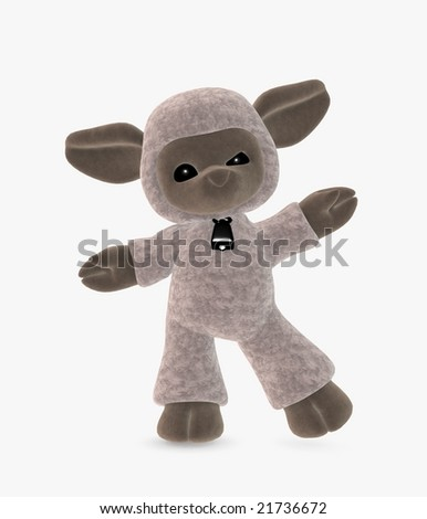 3d illustration of a cute toon sheep - stock photo