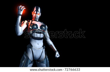 3d illustration of a cyborg character - stock photo