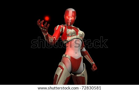 3D illustration of a cyborg soldier - stock photo