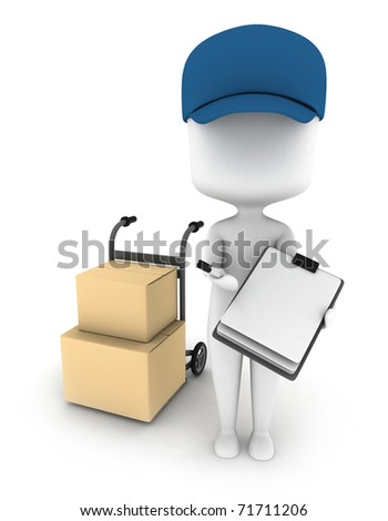 3D Illustration of a Delivery Man Delivering Packages - stock photo