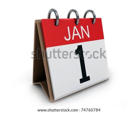 3D Illustration of a Desk Calendar on January 1 - stock photo