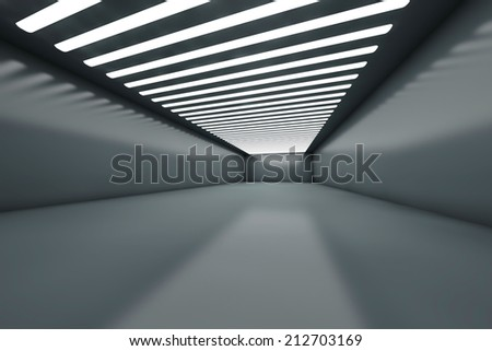 3D illustration of a empty warehouse with illumination. - stock photo