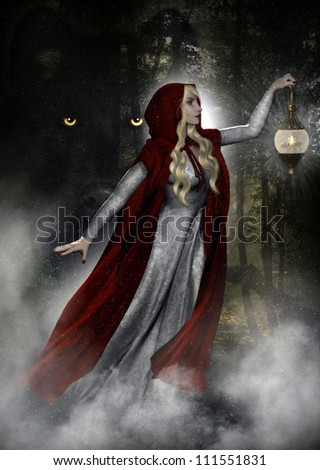 3D illustration of a female wearing a long gown and dark red hooded cloak carrying a lantern walking through the forest.  Behind her is a wolf with big yellow piercing eyes. - stock photo