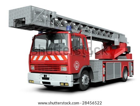 3d illustration of a fire truck - stock photo