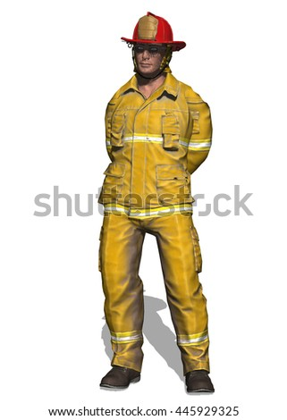 3D illustration of a fireman resting with his hands behind his back. Isolated