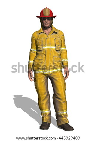 3D illustration of a fireman standing isolated on the background.