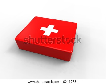 3d illustration of a first aid kit on black background