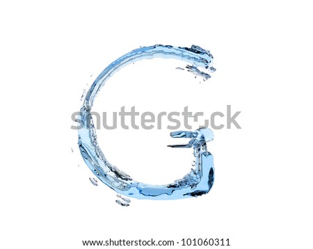 3d illustration of a flow of water is the letter G on white background - stock photo