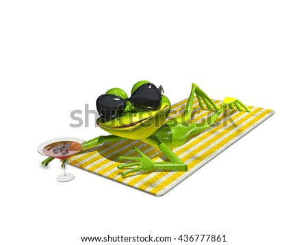 3d illustration of a frog with glasses on a towel - stock photo