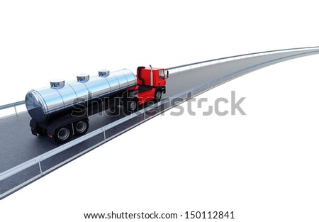 3d illustration of a fuel tanker truck on road isolated on white - stock photo