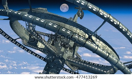3d Illustration of a futuristic space station with multiple gravitational wheels in Earth's high atmosphere for games and science fiction backgrounds. Elements of this image furnished by NASA.