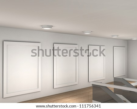 3d illustration of a gallery interior with 4 frames - stock photo
