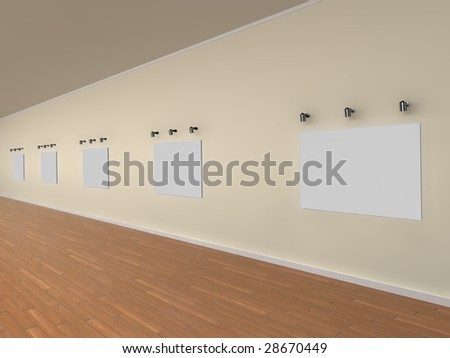 3d illustration of a gallery of blank canvases - ready for your own artwork or designs.