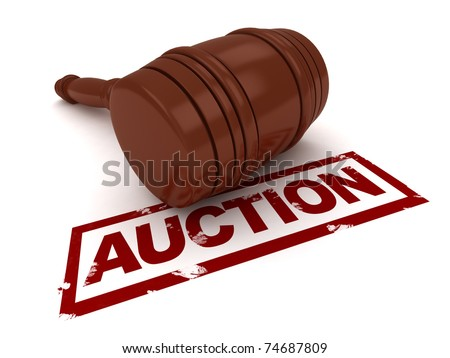 3D Illustration of a Gavel Placed Near the Word Auction - stock photo