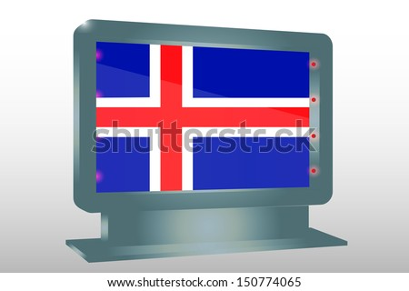 3D Illustration of a Glass Holder isolated with the flag of Iceland - stock photo