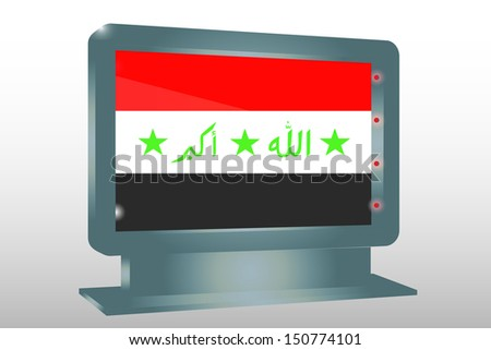 3D Illustration of a Glass Holder isolated with the flag of Iraq - stock photo