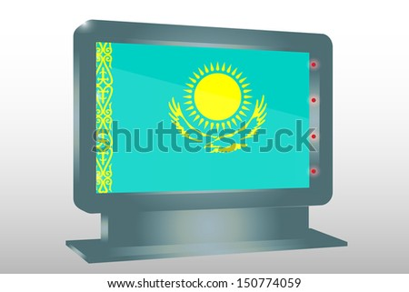 3D Illustration of a Glass Holder isolated with the flag of KAzakhstan - stock photo