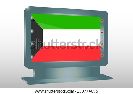 3D Illustration of a Glass Holder isolated with the flag of Kuwait - stock photo