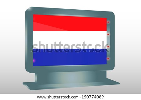 3D Illustration of a Glass Holder isolated with the flag of Netherlands - stock photo