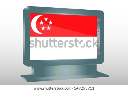 3D Illustration of a Glass Holder isolated with the flag of Singapore - stock photo