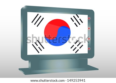 3D Illustration of a Glass Holder isolated with the flag of South Korea - stock photo