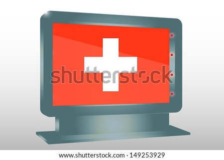 3D Illustration of a Glass Holder isolated with the flag of Switzerland - stock photo