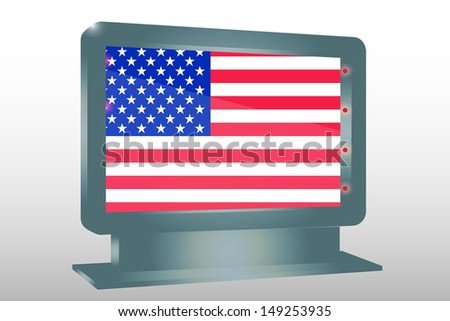3D Illustration of a Glass Holder isolated with the flag of the United States of America - stock photo