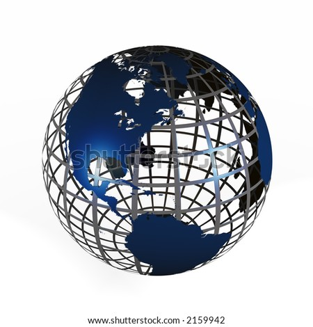 3D illustration of a globe with a steel cage like wireframe and blue land masses on a white background.