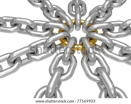 3d illustration of a gold ring with chains - conceptual image - strong group - stock photo