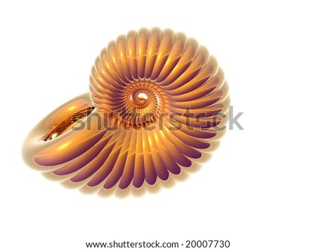 3D Illustration of a golden sea shell