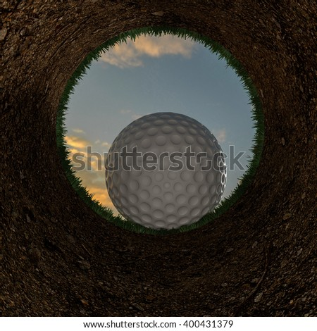 3D illustration of a golf ball going into a hole. Rendering. - stock photo