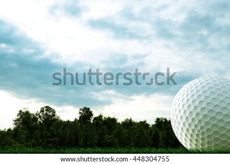 3d illustration of a golf ball on a course - stock photo