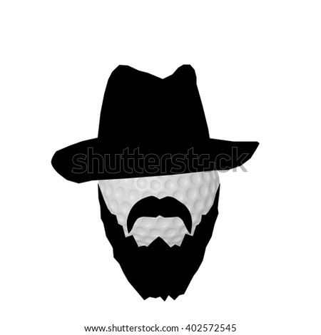 3d illustration of a golf ball with black beard and gangster hat, isolated on white background