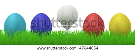 3d illustration of a golfball on a tee between four colorful easter eggs  in grass - stock photo