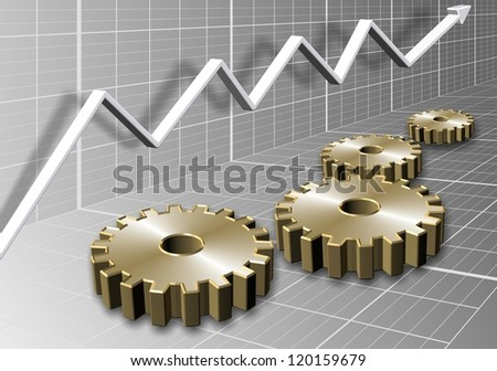 3d illustration of a group of cogs and a chart arrow / Cogs and chart - stock photo
