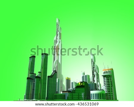 3D illustration of a group of futuristic buildings on a green background