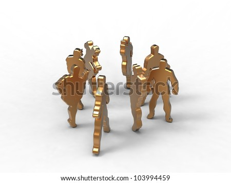 3d illustration of a group of men talking in a circle on white background - stock photo